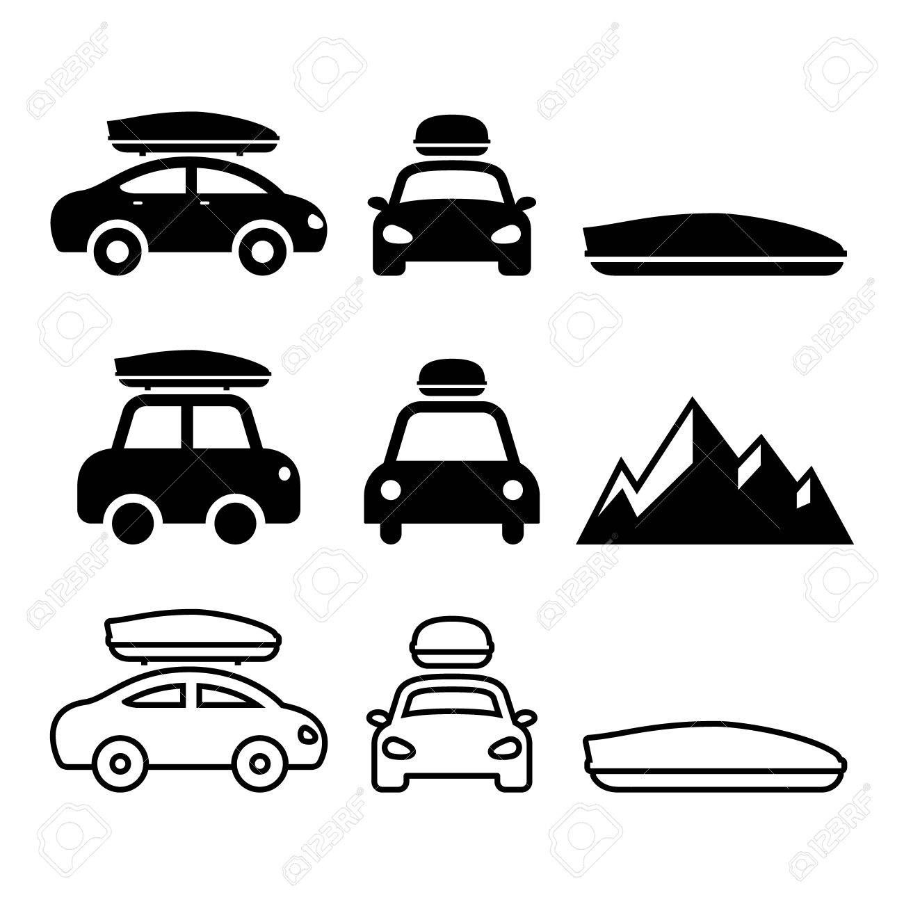 Car Roof Box Roof Rack Or Carrier Vector Icons Set Ad Box Rack Car Roof Icons Car Roof Box Roof Box Icon Set Vector