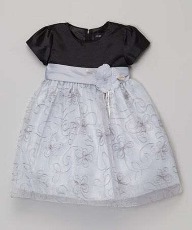 Another great find on #zulily! Gray & Black Flower Sheer-Overlay Dress - Infant #zulilyfinds