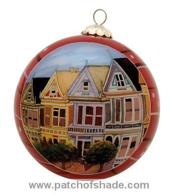 #San Francisco ornament, #Painted Ladies, #AlamoSquare, hand painted glass  ornament, $19.99 - San Francisco Ornament, #Painted Ladies, #AlamoSquare, Hand Painted