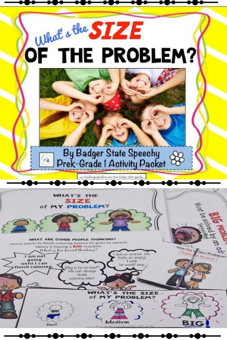 Help your students or clients determine the size of the problem and that their reaction should match the size of the problem.  Teaching story, Sorting activity, perspective-taking activity, black and white mini book and 2 tiers of self-reflection workshee