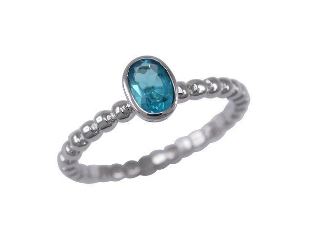 Sterling Silver 7mm Oval Aqua Cubic Zirconia Ring Mixed Sizes