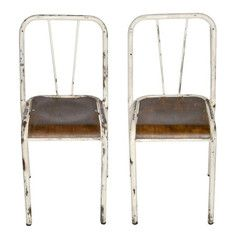 French Industrial Stacking Chairs - A Pair #frenchindustrial