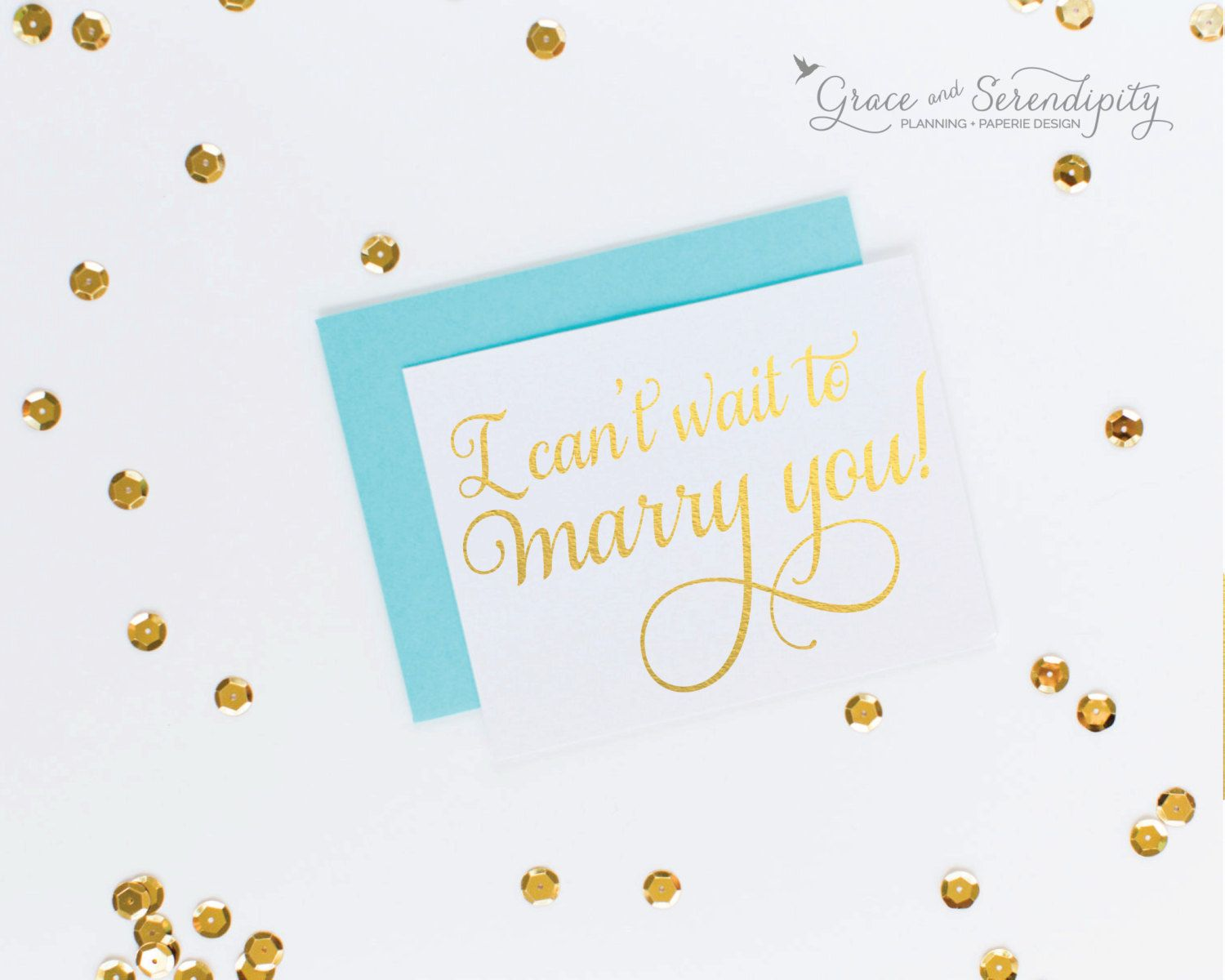Wedding day cards for each other i can t wait to marry you wedding day - New To Graceserendipityshop On Etsy Gold Foil I Can T Wait To Marry You