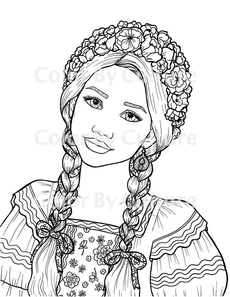 Ukrainian Girl Coloring Page Color By Culture Coloring Pages For Girls Coloring Pages Skull Coloring Pages