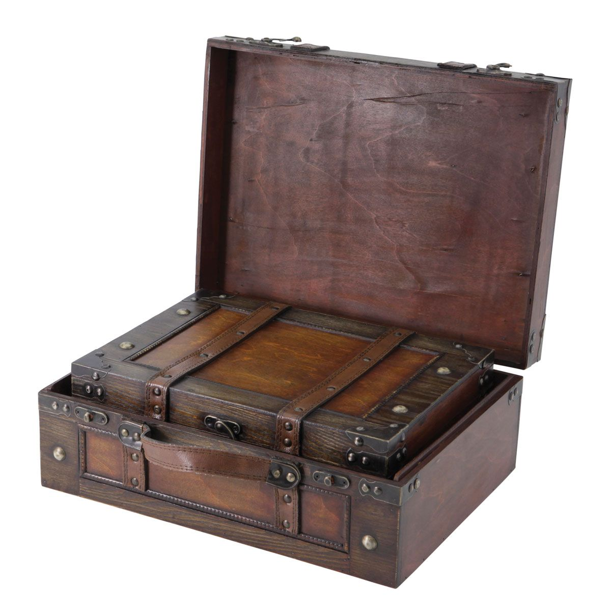 Decorative Luggage Box Antique Style Wooden Suitcase  Aged Effect Wooden Storage