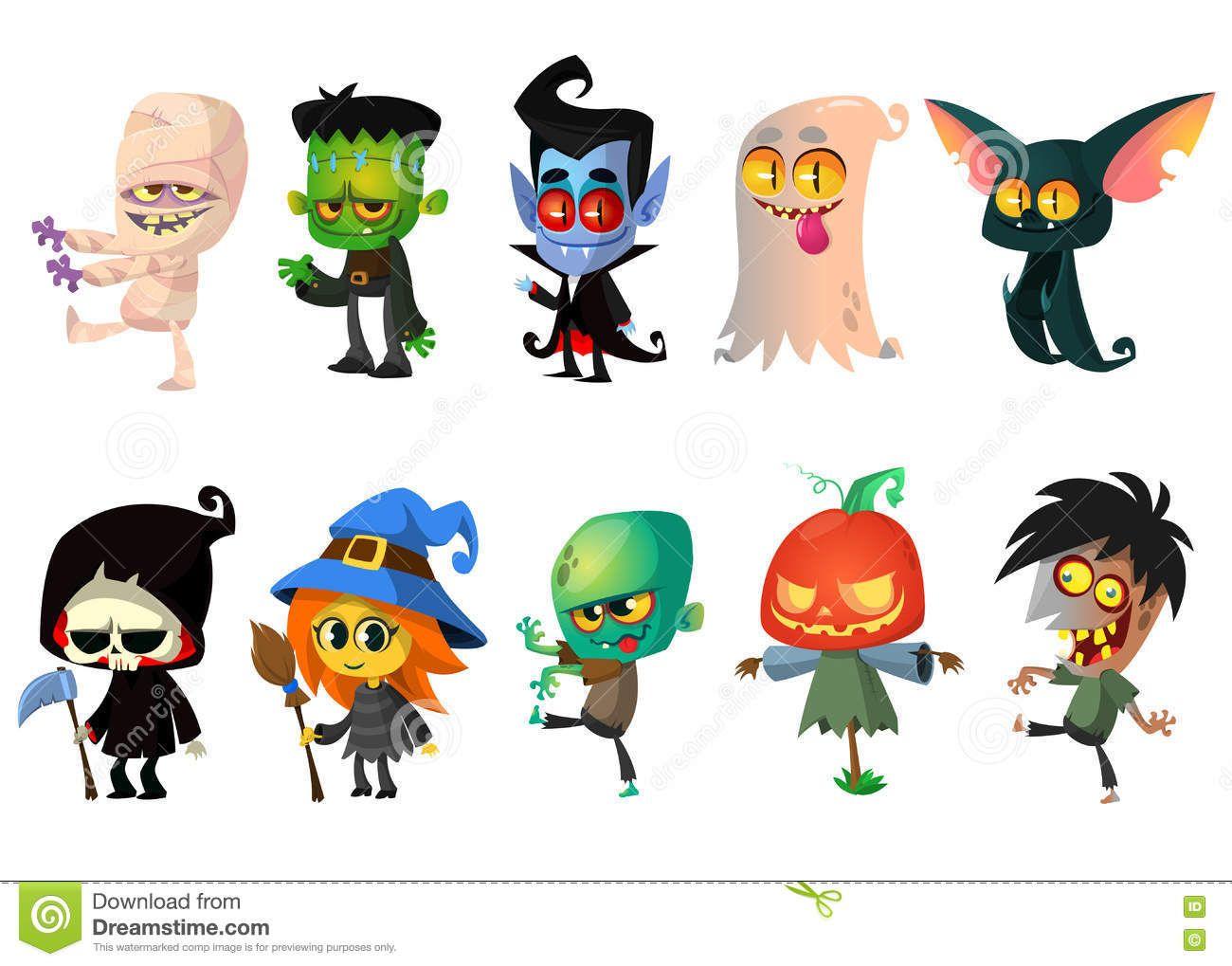 Cartoon Halloween Monsters Set Halloween Vector Halloween