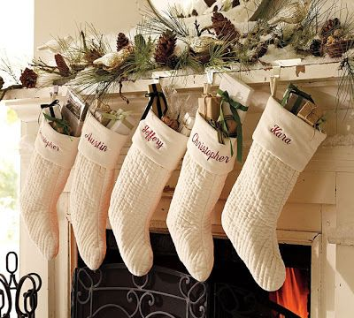 white pottery barn channel stockings