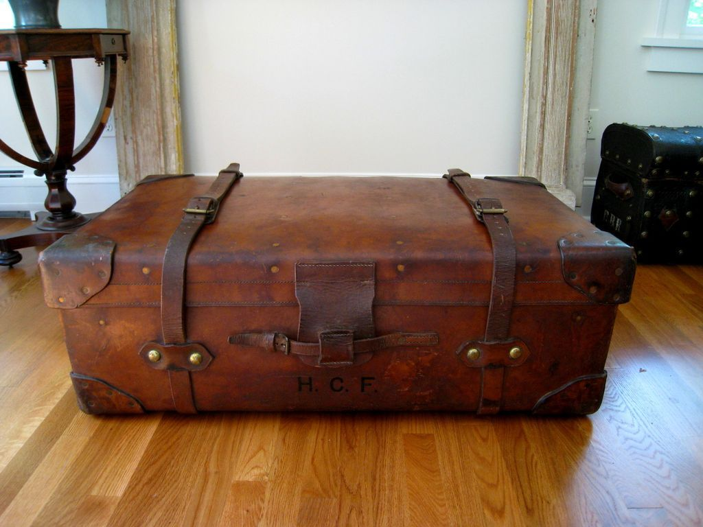 Antique Leather Travel Trunk C 1890