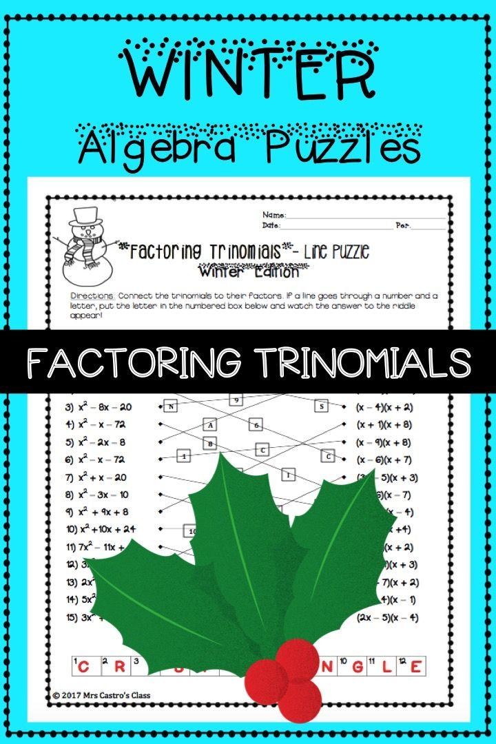 Algebra Winter Activity Factoring Trinomials Algebra