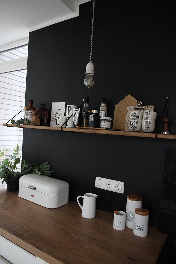 Eine schwarze Wand für die Küche Interiors, Kitchens and Grey room - wie kann ich meine küche streichen