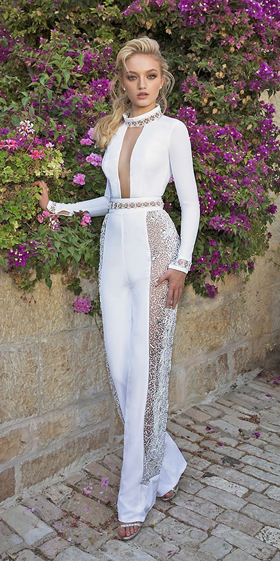 43 Pants Wedding Dresses Page 1 Designer Jumpsuits Bridal Jumpsuit Trendy Wedding Dresses