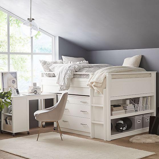 Sleep Amp Study Low Loft Bed Drawer And Desk Set Brushed
