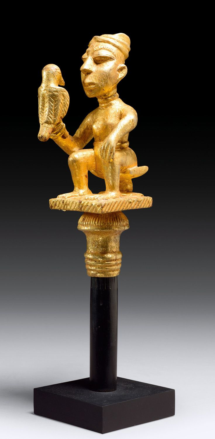 Africa | Top of a dignitary's staff | Wood, gold leaf