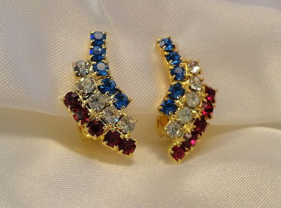 PATRIOTIC Earrings in Prongset Red White Blue by PrettyOldJewels