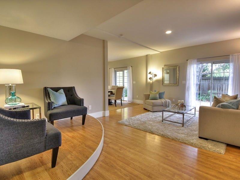 Contemporary Living Room With Carpet Upper Eastside Coffee Table By Wildon Home Hardwood Floors Sunken