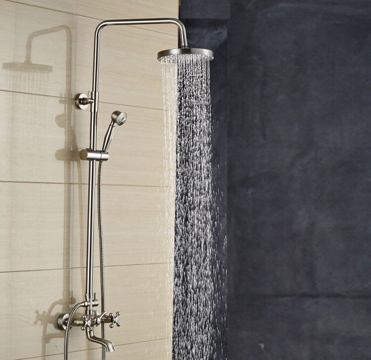 Mazama 8 Inch Wall Mount Brushed Nickel Rain Shower Head With Hand