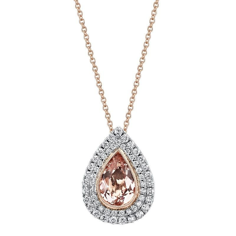 Diamond pendant set with pear shape morganite jewels i love diamond pendant set with pear shape morganite mozeypictures Images