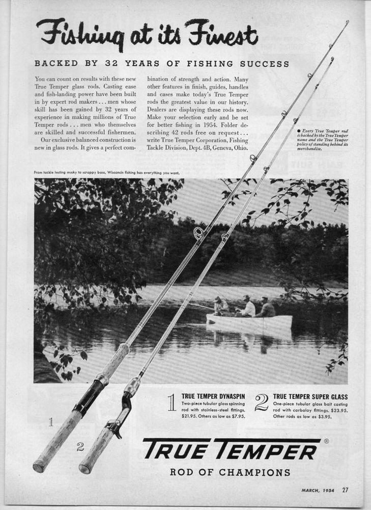 1954 Vintage Ad True Temper Fishing Rods Genevaohio Vintage