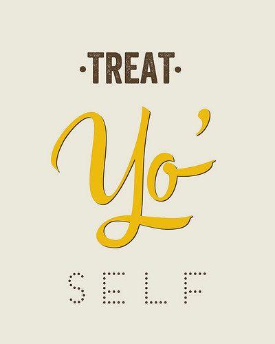 Typography Print, Quote Print, Treat Yo Self, Parks and Rec, Yellow, Nude, Wall Decor - Treat Yo Self 2 (8x10)