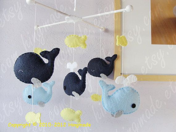 Whale Mobile - Baby Mobile - Nursery Crib Mobile - Fish Mobile - Serene Sea - Navy Blue Whale family and Yellow fish (You pick your colors) on Etsy, $82.00