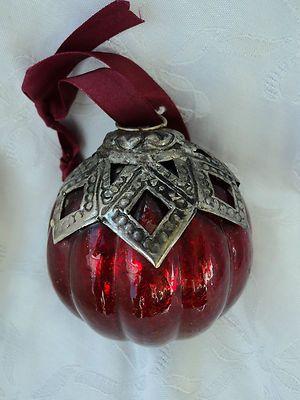Biedermeier Christmas ball Christmas tree ornaments Christmas Ornament Old Red with Metal