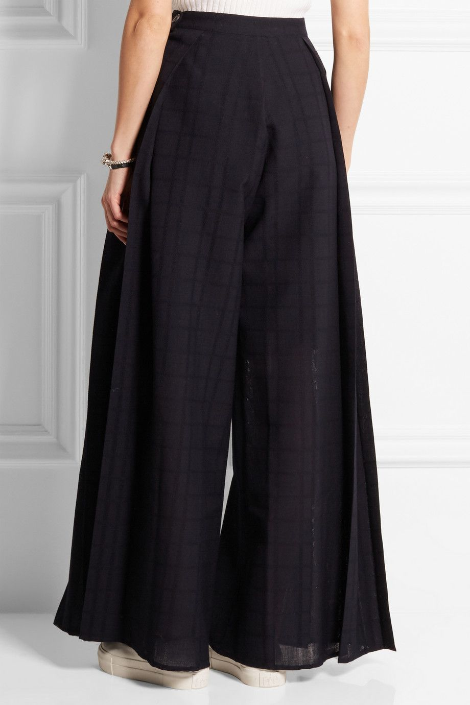 1205 | Pleated checked wool wide-leg pants | NET-A-PORTER.COM