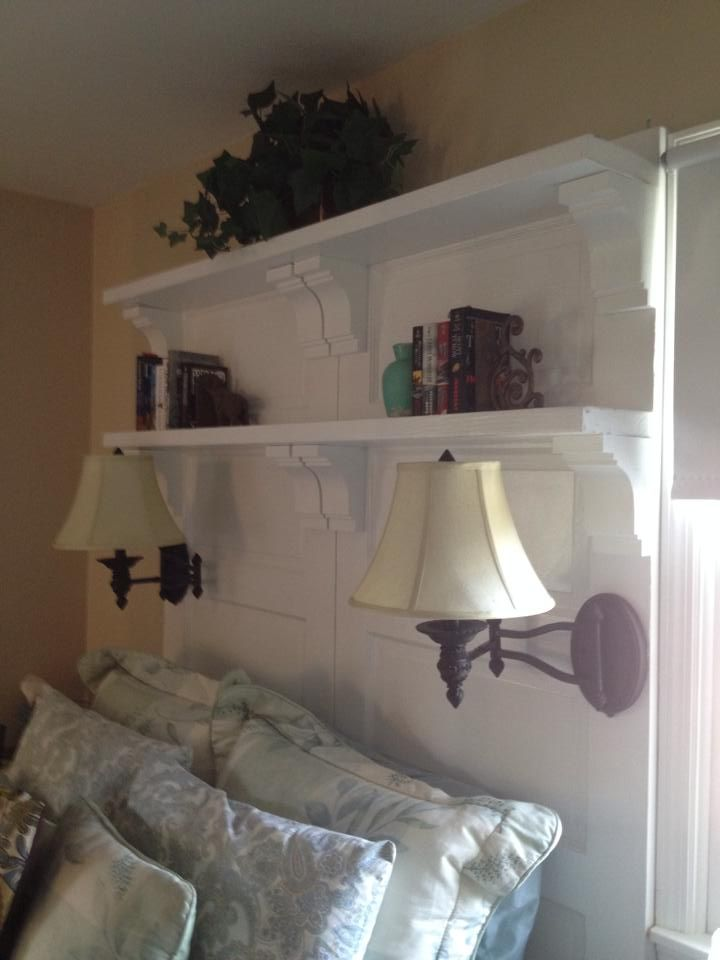 Add lighting corbels and shelves headboard with book