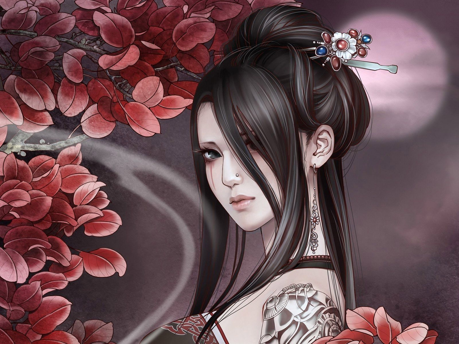Wallpaper Of A Gothic Anime Girl With
