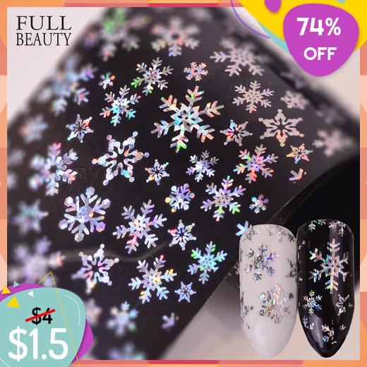 Nail Sticker Transfer Foils Snowflake Glitter Laser Star Xmas Pattern Christmas Full Beauty 100x4cm