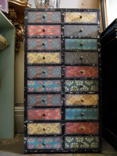 Distressed SHABBY CHIC Tall Multi Coloured CHEST 20 Drawers Cabinet Hall  Unit