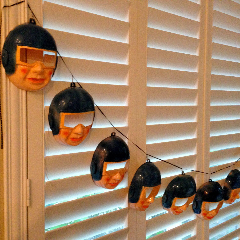 Childs Halloween Mask vintage BANNER astronaut Mid Century Unisex decor by happykristen on Etsy https://www.etsy.com/listing/208493247/childs-halloween-mask-vintage-banner