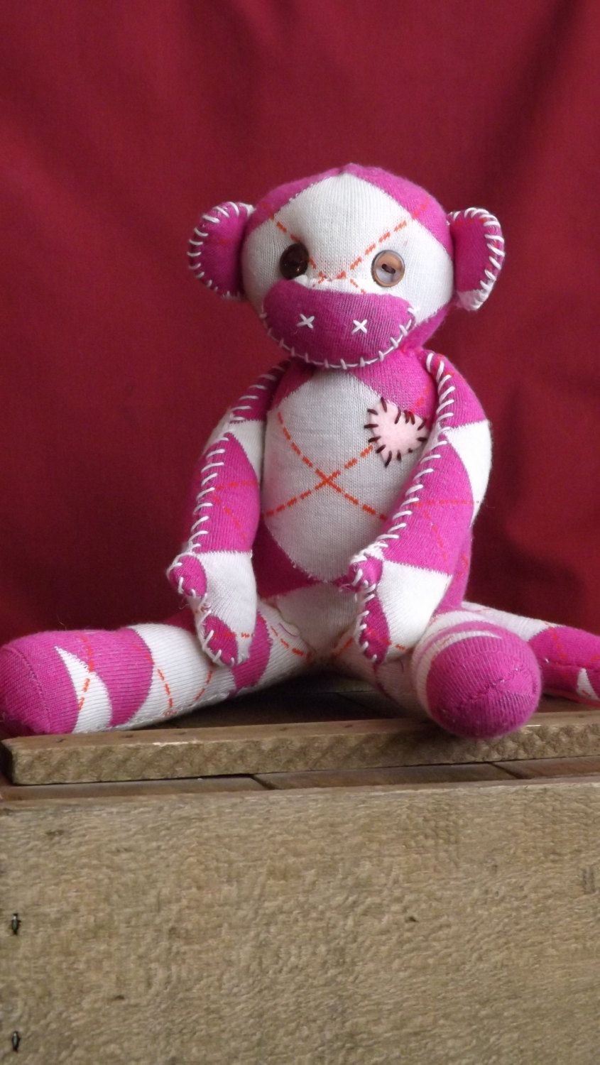 Chloe Handstitched sock monkey. Stands approx 8 by ChikiMonkeys, $25.00