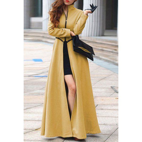 Fashionable Stand Collar Solid Color High Slit Long Sleeve Trench Coat For Women