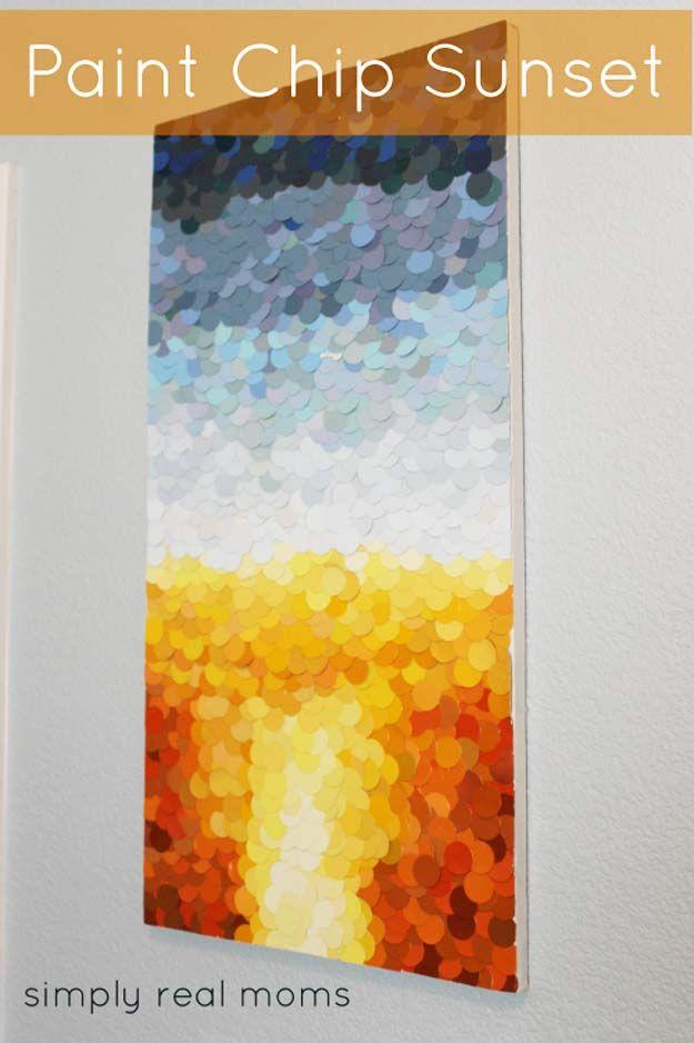 DIY Paint Chip Sunset Art | 17 Amazing DIY Paint Chip Projects
