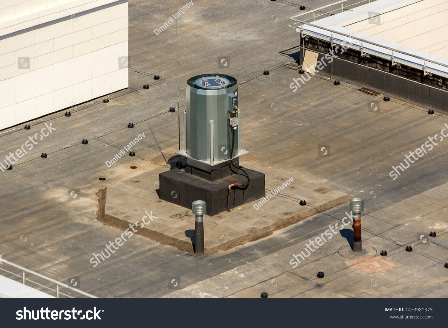 Ventilation, air conditioning system on roof of modern