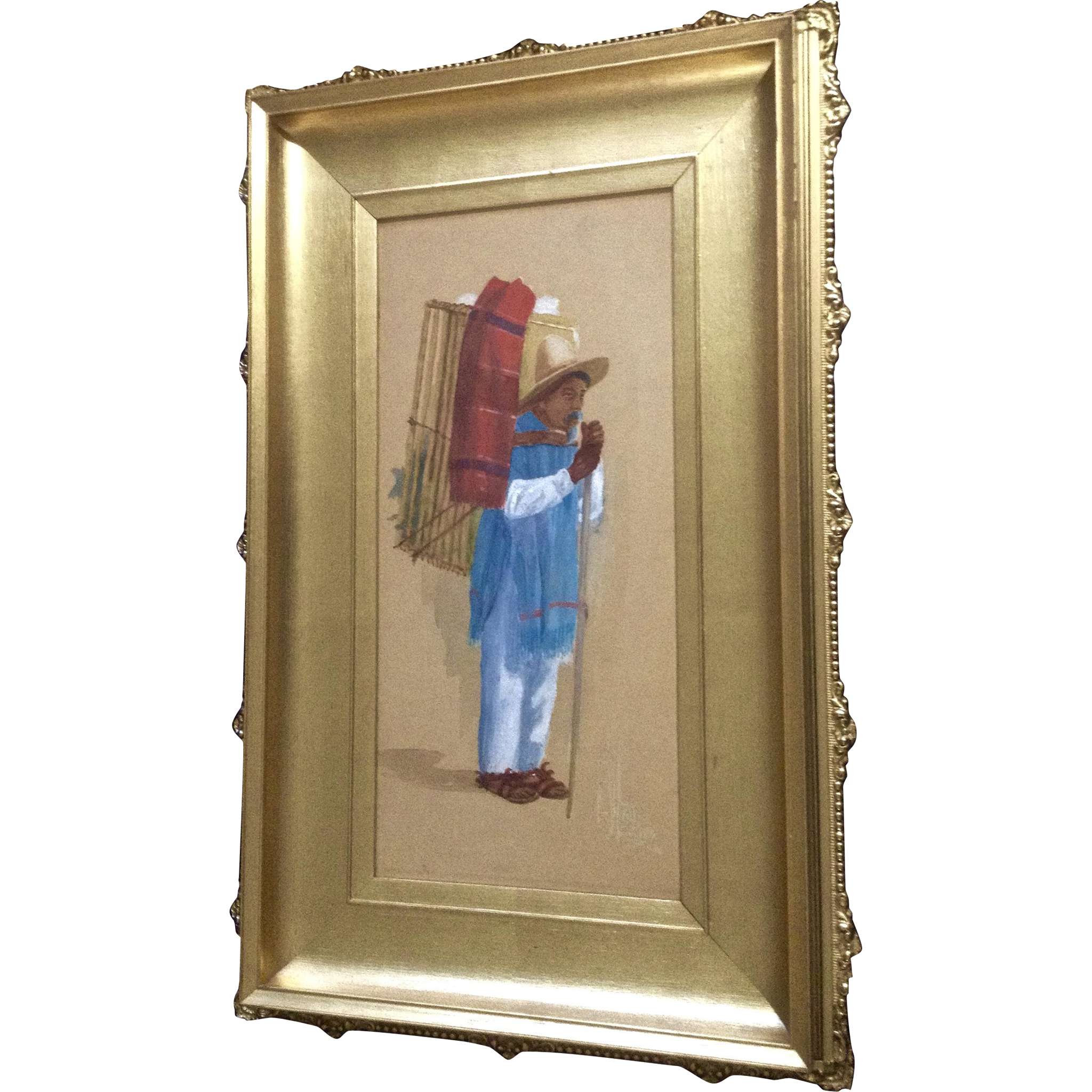 South american peddler in gold and black frame watercolor painting south american peddler in gold and black frame watercolor painting signed by mexico artist jeuxipadfo Image collections