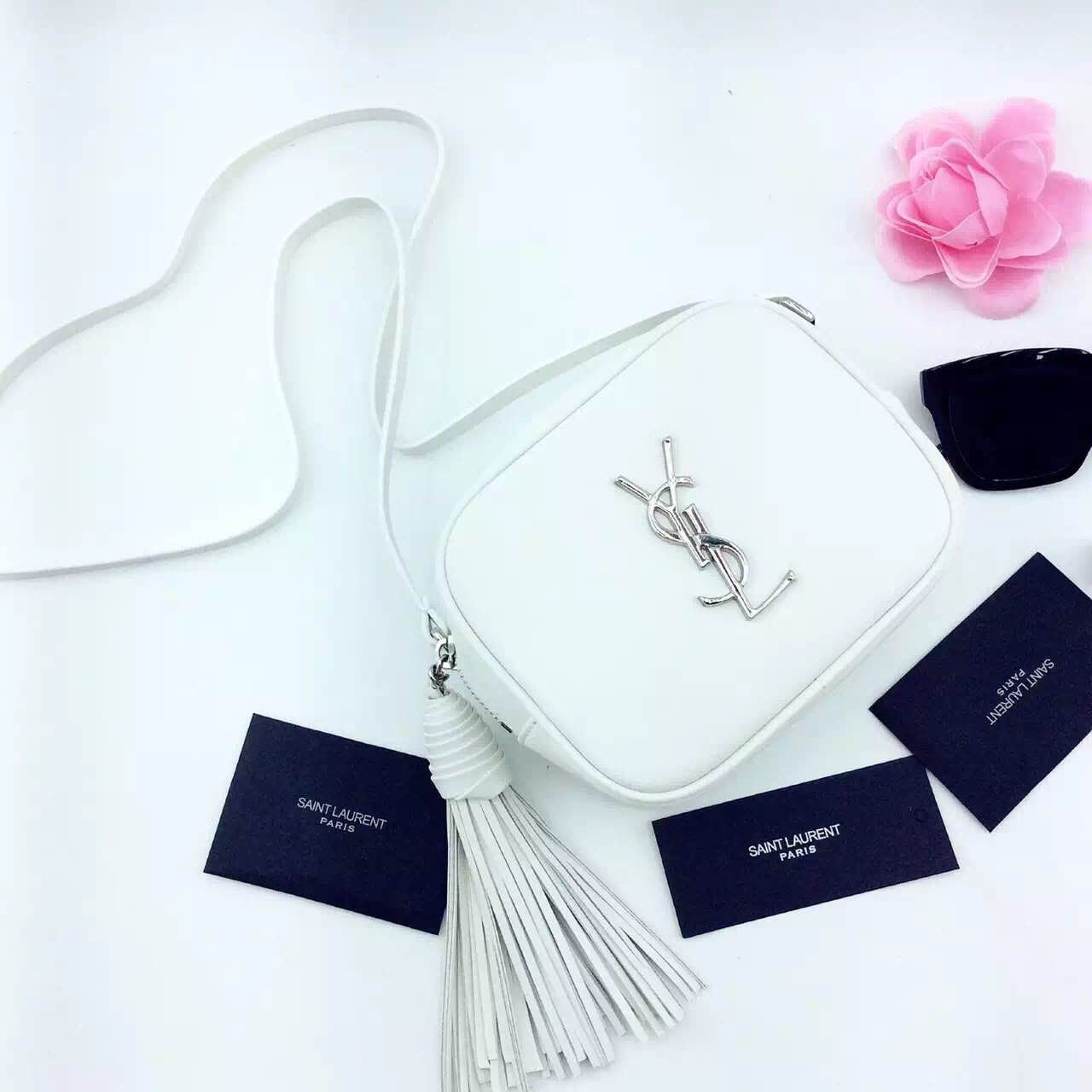 New Arrival!2016 Cheap YSL Out Sale with Free Shipping-Saint Laurent  Monogram Medium Blogger Bag in Dove White Leather 4725e3c65008c