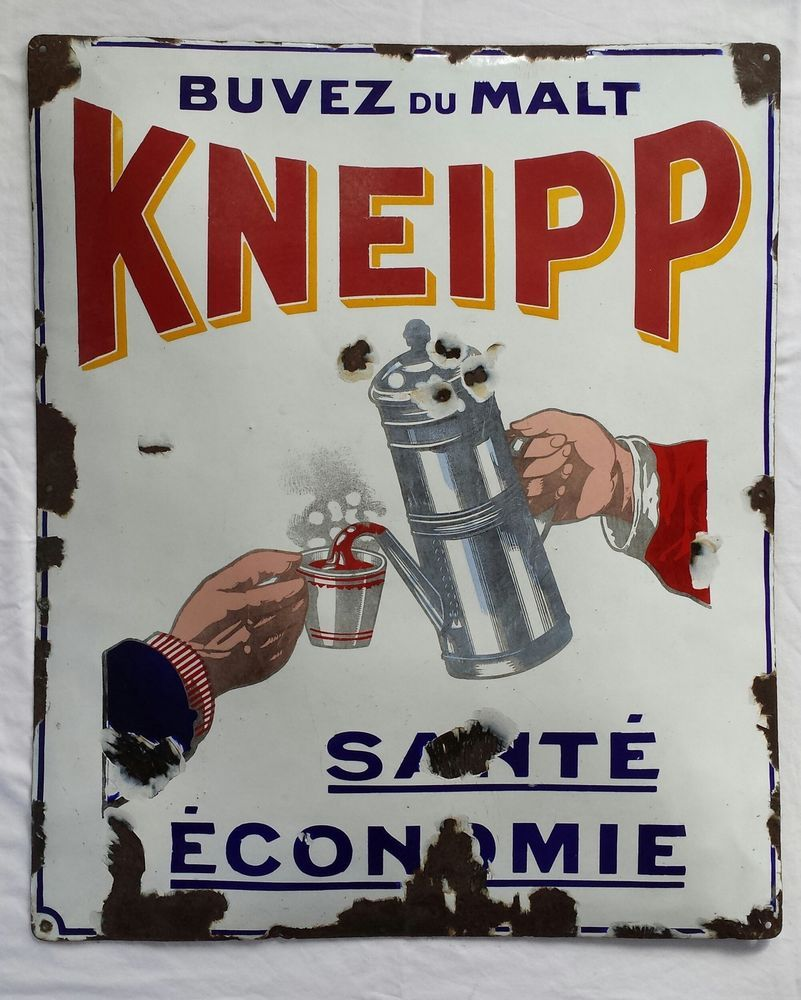 Ancienne plaque émaillée MALT KNEIPP - Cafetière - décoration