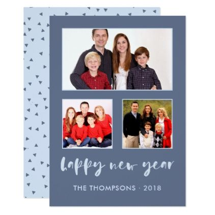 shades of blue happy new year family photo collage card blue gifts