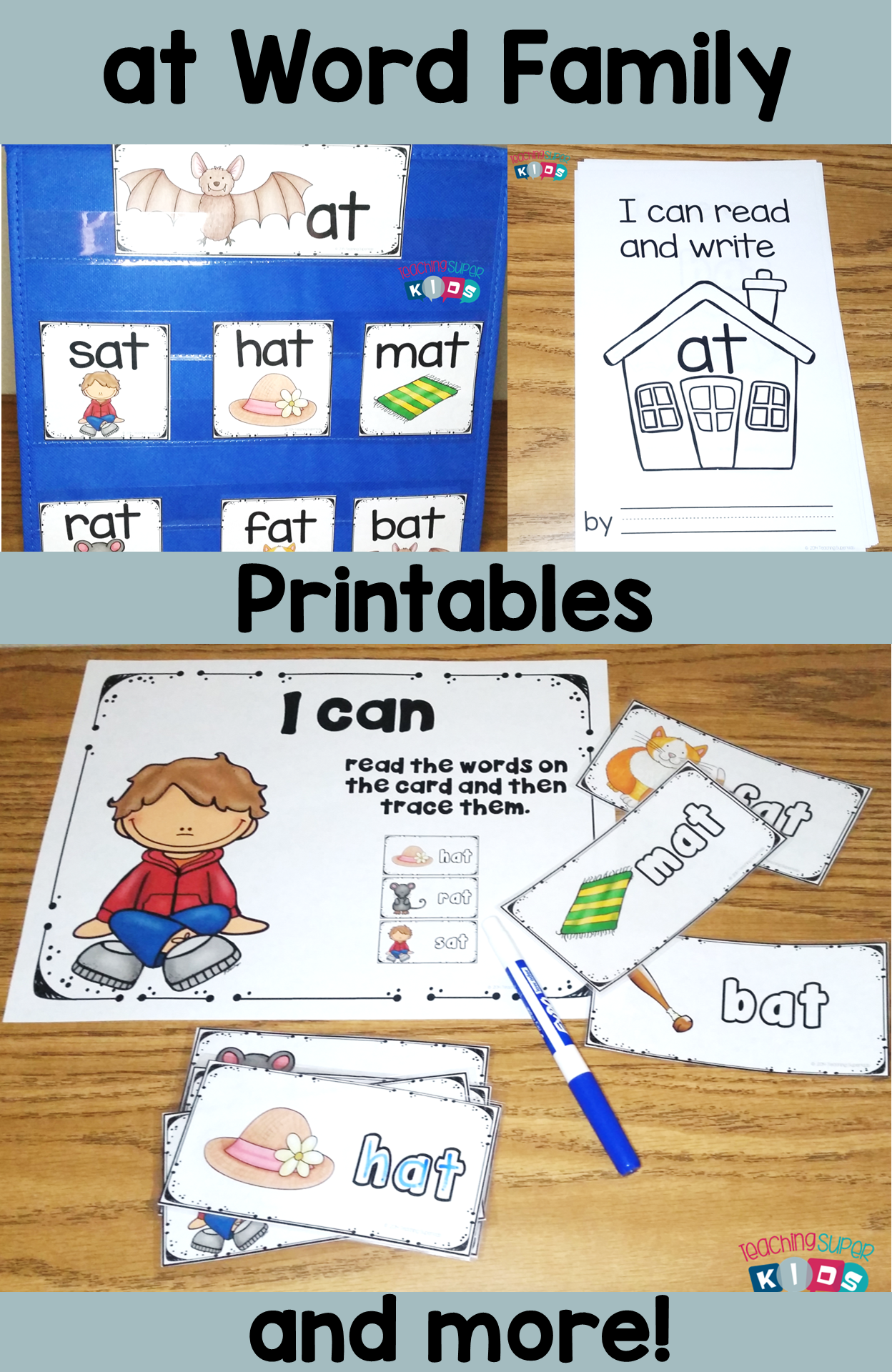 Cvc At Word Family Pocket Chart Cards Student Book And