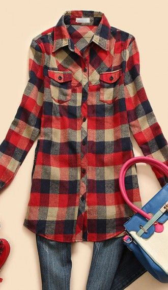 The perfect classic flannel for upcoming beautiful fall weather! Perfect with boots and a vest.