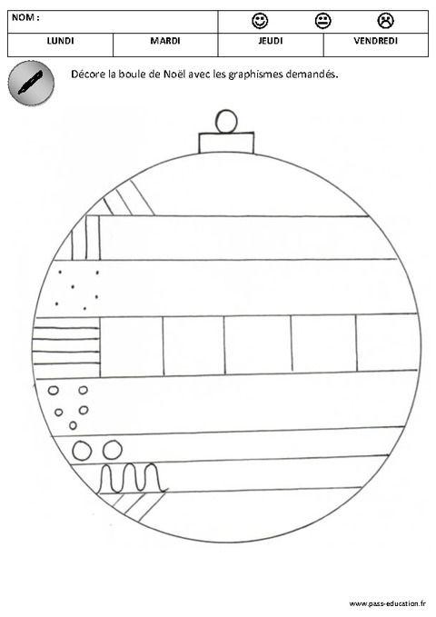 D core les boules de no l graphisme maternelle - Coloriage noel petite section ...