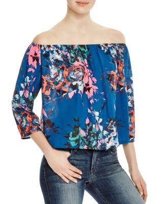 2110824809f27 AQUA Neon Floral Off-The-Shoulder Top