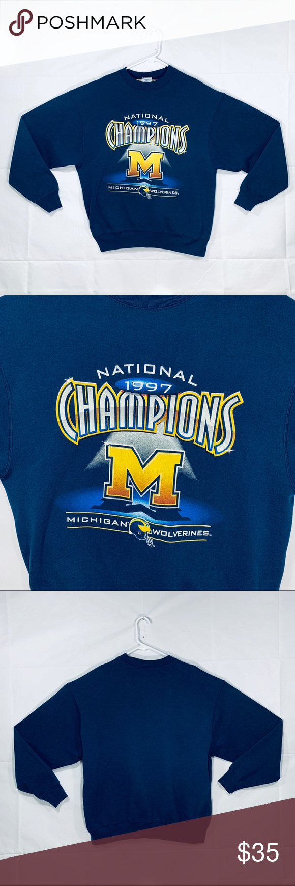 Michigan Wolverines Champions Crewneck Size Xl Condition Good Lettering Has Some Cracking No Stains On Sweatshirt T Sweater Layering Sweatshirts Crew Neck [ 1740 x 580 Pixel ]