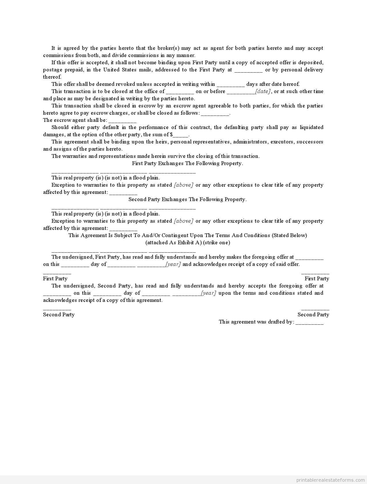 Sample Printable Wisconsin Form Offer To Exchange Property With