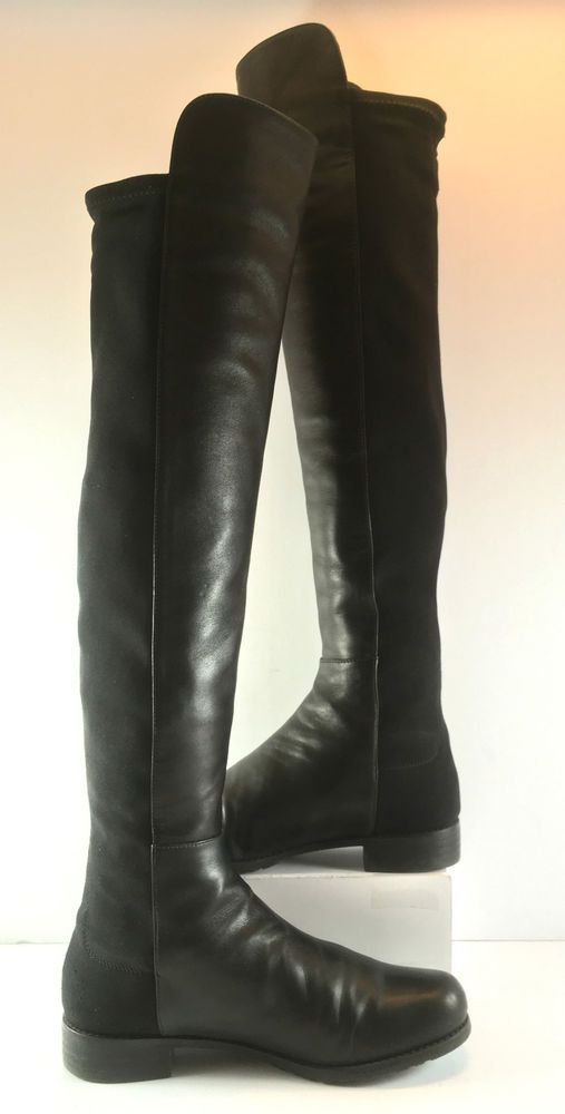 affe1f41090 Stuart Weitzman 5050 Black Nappa Leather Knee High Boot Womens Size US 8.5M