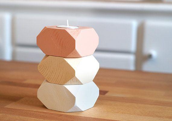 Geometric Wood Candle holders Decoration