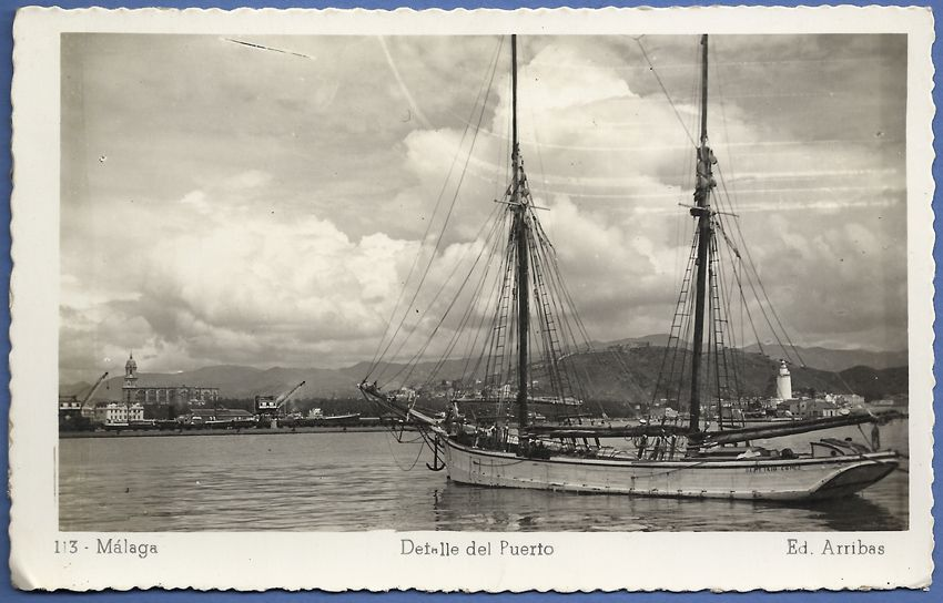 """157 """"MÁLAGA. Detalle del Puerto""""."""