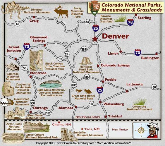 Colorado National Parks, Landmarks, Monuments, Map, CO, Colorado ...