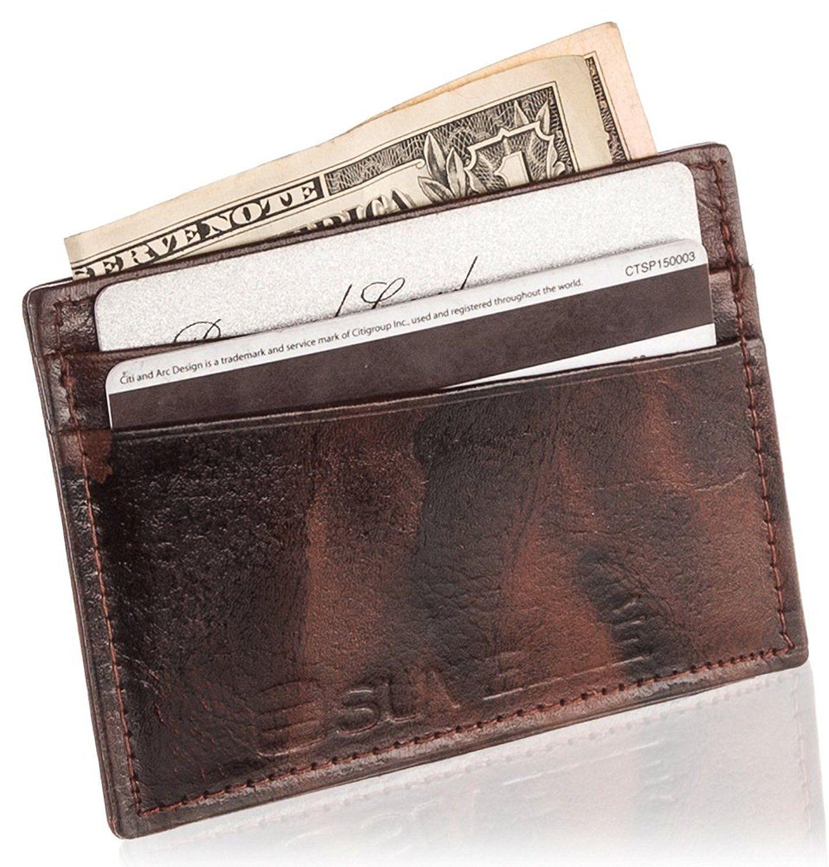 Suvelle Genuine Leather Credit Card Holder, Slim Business Card Case ...